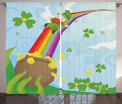 St. Patrick's Day Graphic Print and Text Semi-Sheer Rod Pocket Curtain Panels (Set of 2) WYF078281149275