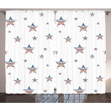 The Holiday Aisle 4th of July Graphic Print and Text Semi-Sheer Rod Pocket Curtain Panels (Set of 2)