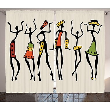 World Menagerie Taghzour Graphic Print and Text Semi-Sheer Rod Pocket Curtain Panels (Set of 2)