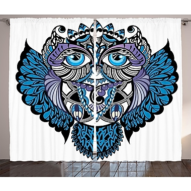 Taounate Tribal Graphic Print and Text Semi-Sheer Rod Pocket Curtain Panels (Set of 2)