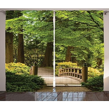 Zwolle Japanese Decor Graphic Print & Text Semi-Sheer Rod Pocket Curtain Panels (Set of 2)