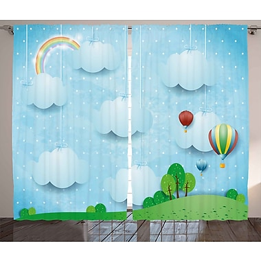 Zoomie Kids Chelsea Kids Decor Graphic Print & Text Semi-Sheer Rod Pocket Curtain Panels (Set of 2)