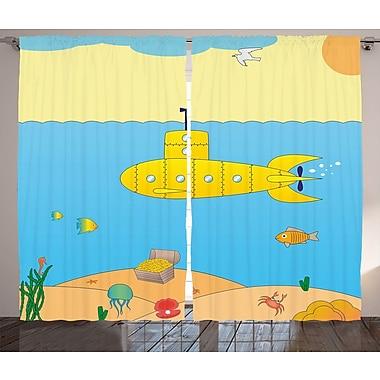 Cherie Yellow Submarine Graphic Print & Text Semi-Sheer Rod Pocket Curtain Panels (Set of 2)