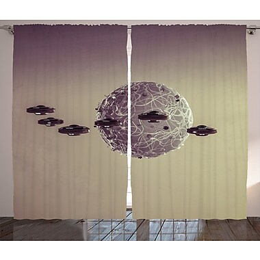 Zoomie Kids Cheyenne Galaxy Graphic Print & Text Semi-Sheer Rod Pocket Curtain Panels (Set of 2)
