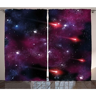 Zoomie Kids Cindy Space Graphic Print & Text Semi-Sheer Rod Pocket Curtain Panels (Set of 2)