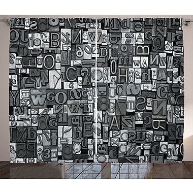 Vogel Landscape Graphic Print and Text Semi-Sheer Rod Pocket Curtain Panels (Set of 2)