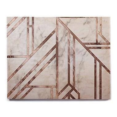 East Urban Home 'Dark Marble Mosaic' Graphic Art Print on Wood; 20'' H x 24'' W x 1'' D