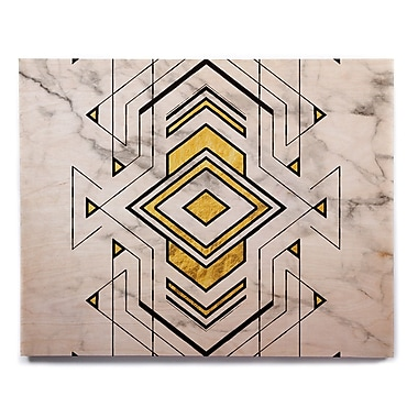 East Urban Home 'Geo Marble Graphic' Graphic Art Print on Wood; 20'' H x 24'' W x 1'' D