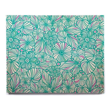 East Urban Home 'My Turquoise Flowers' Graphic Art Print on Wood; 20'' H x 24'' W x 1'' D