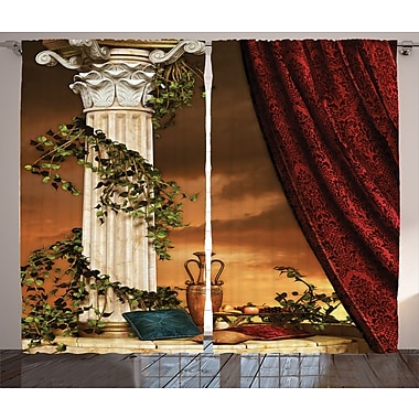 Greek Scene Climber Graphic Print and Text Semi-Sheer Rod pocket Curtain Panel (Set of 2)