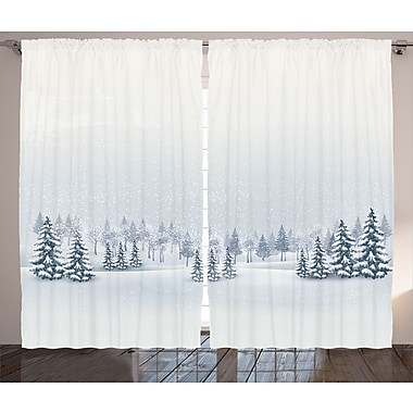 Milesburg Winter Graphic Print and Text Semi-Sheer Rod Pocket Curtain Panels (Set of 2)