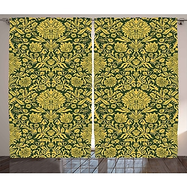Millsboro Floral Graphic Print and Text Semi-Sheer Rod Pocket Curtain Panels (Set of 2)