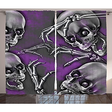 Ambesonne Skull Decor Graphic Print and Text Semi-Sheer Rod pocket Curtain Panel (Set of 2)