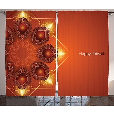 World Menagerie Toey Diwali Graphic Print and Text Semi-Sheer Rod Pocket Curtain Panels (Set of 2)