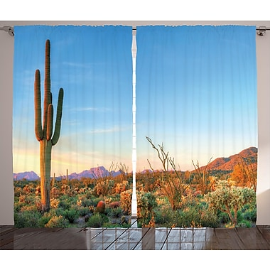Touete Cactus Decor Graphic Print & Text Semi-Sheer Rod Pocket Curtain Panels (Set of 2)