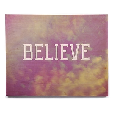 East Urban Home 'Believe' Textual Art on Wood; 16'' H x 20'' W x 1'' D