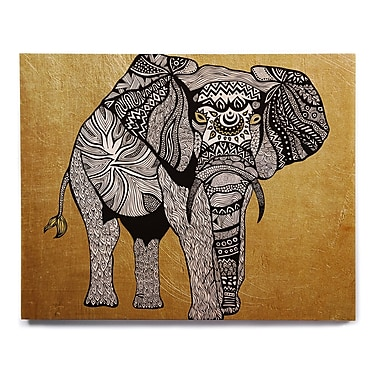 East Urban Home 'Golden Elephant' Graphic Art Print on Wood; 20'' H x 24'' W x 1'' D
