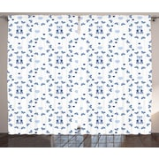 Harriet Bee Terry Graphic Print & Text Semi-Sheer Rod pocket Curtain Panels (Set of 2)