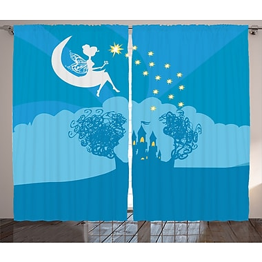 Harriet Bee Cassandra Graphic Print & Text Semi-Sheer Rod pocket Curtain Panels (Set of 2)