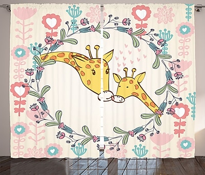 Harriet Bee Kristina Giraffe Graphic Print & Text Semi-Sheer Rod Pocket Curtain Panels (Set of 2) WYF078281144257