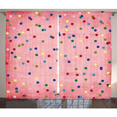 Harriet Bee Shelly Graphic Print & Text Semi-Sheer Rod pocket Curtain Panels (Set of 2)