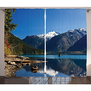 Loon Peak Cesar Landscape Graphic Print and Text Semi-Sheer Rod Pocket Curtain Panel (Set of 2)