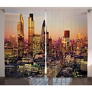 Ivy Bronx Easton New York Graphic Print & Text Semi-Sheer Rod Pocket Curtain Panels (Set of 2)