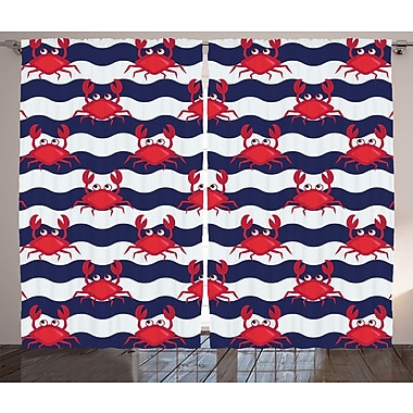 Fallsburg Crabs Decor Graphic Print and Text Semi-Sheer Rod Pocket Curtain Panels (Set of 2)