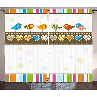 Binns Valentines Day Graphic Print and Text Semi-Sheer Rod Pocket Curtain Panels (Set of 2)