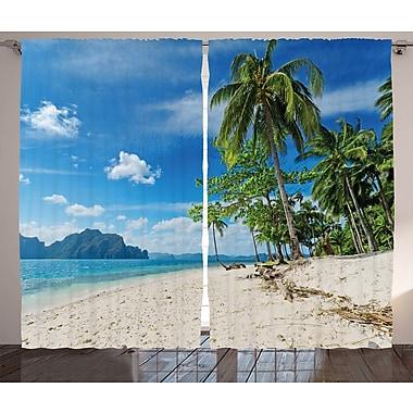 Latitude Run Birney Landscape Graphic Print and Text Semi-Sheer Rod Pocket Curtain Panels (Set of 2)