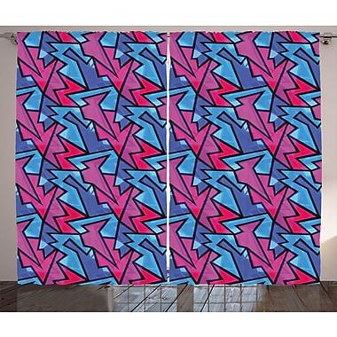 Latitude Run Deedee Ethnic Graphic Print and Text Semi-Sheer Rod Pocket Curtain Panels (Set of 2)