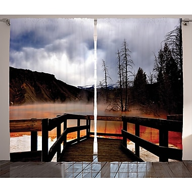 Campbelltown Yellowstone Graphic Print and Text Semi-Sheer Rod Pocket Curtain Panels (Set of 2)