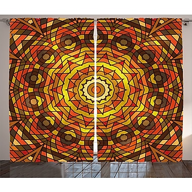 Salonique Celtic Graphic Print and Text Semi-Sheer Rod Pocket Curtain Panels (Set of 2)