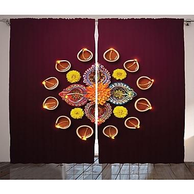 World Menagerie Zinab Diwali Graphic Print and Text Semi-Sheer Rod Pocket Curtain Panels (Set of 2)