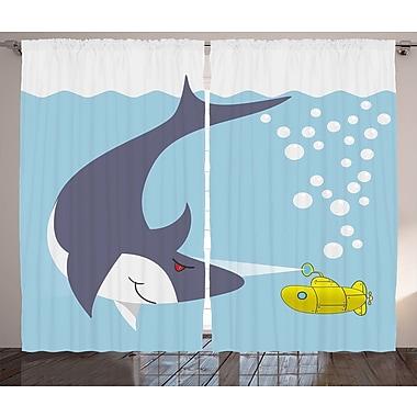 Flora Yellow Submarine Graphic Print & Text Semi-Sheer Rod Pocket Curtain Panels (Set of 2)