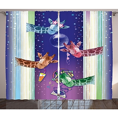 Zoomie Kids Gabrielle Animal Graphic Print & Text Semi-Sheer Rod Pocket Curtain Panels (Set of 2)