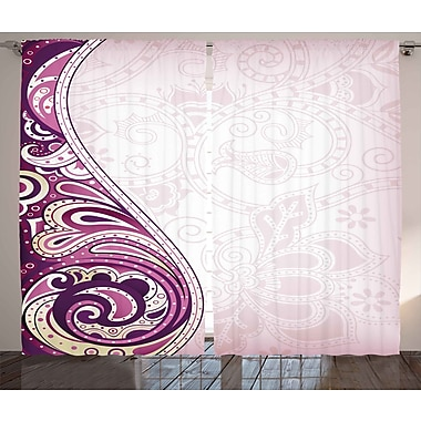 Zoomie Kids Gena Floral Graphic Print & Text Semi-Sheer Rod Pocket Curtain Panels (Set of 2)