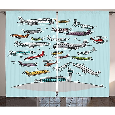 Geoffrey Airplane Decor Graphic Print & Text Semi-Sheer Rod Pocket Curtain Panels (Set of 2)