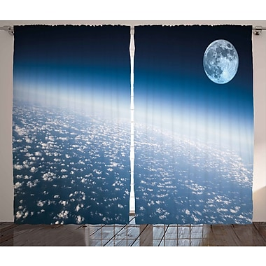 Zoomie Kids Gale Space Graphic Print & Text Semi-Sheer Rod Pocket Curtain Panels (Set of 2)