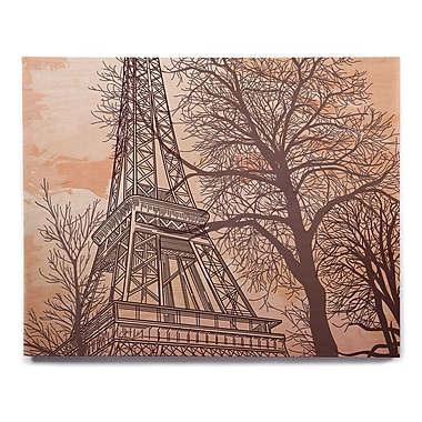 East Urban Home 'Eiffel Tower' Graphic Art Print on Wood; 16'' H x 20'' W x 1'' D
