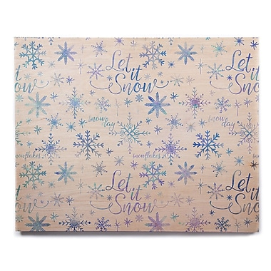 East Urban Home 'Let It Snow Winter Pattern' Graphic Art Print on Wood; 8'' H x 10'' W x 1'' D