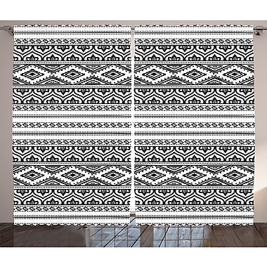 Loon Peak Farell Ethnic Graphic Print and Text Semi-Sheer Rod Pocket Curtain Panel (Set of 2)