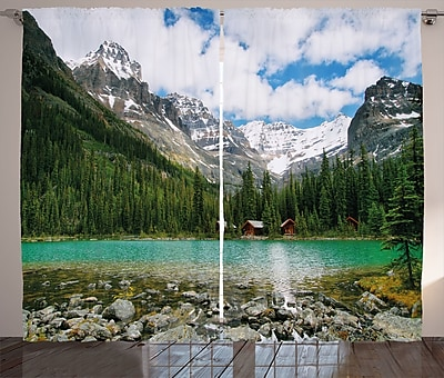 Loon Peak Alfon Nature Graphic Print and Text Semi-Sheer Rod Pocket Curtain Panel (Set of 2) WYF078281145518
