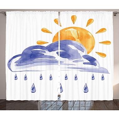 Latitude Run Al Gothic HouseGraphic Print and Text Semi-Sheer Rod Pocket Curtain Panels (Set of 2)