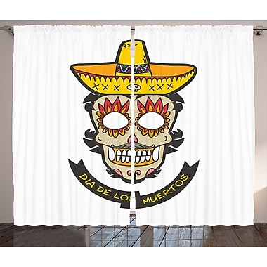 Dedra Day of The Dead Graphic Print and Text Semi-Sheer Rod Pocket Curtain Panels (Set of 2)