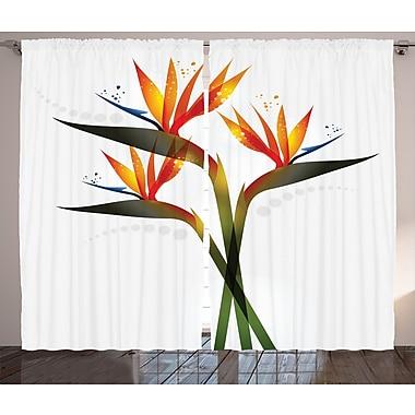 Latitude Run Yee Flower Graphic Print and Text Semi-Sheer Rod Pocket Curtain Panels (Set of 2)