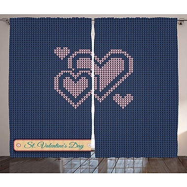 Bleigh Valentines Day Decor Graphic Print & Text Semi-Sheer Rod Pocket Curtain Panels (Set of 2)