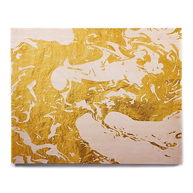 East Urban Home 'Gold Ink on Water' Graphic Art Print on Wood; 16'' H x 20'' W x 1'' D