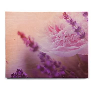 East Urban Home 'Peony and Lavender' Graphic Art Print on Wood; 16'' H x 20'' W x 1'' D