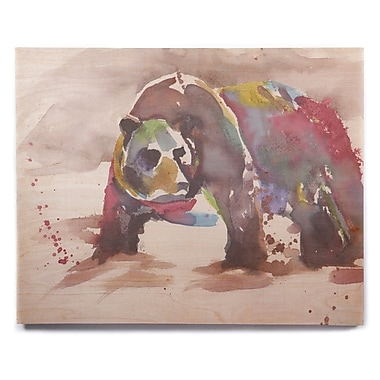 East Urban Home 'Grizzly Bear Watercolor' Watercolor Painting Print on Wood; 12'' H x 12'' W x 1'' D